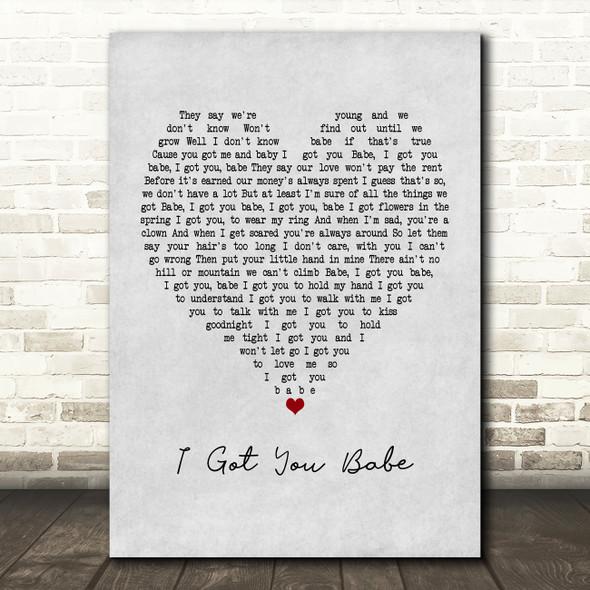 UB40 I Got You Babe Grey Heart Song Lyric Framed Print