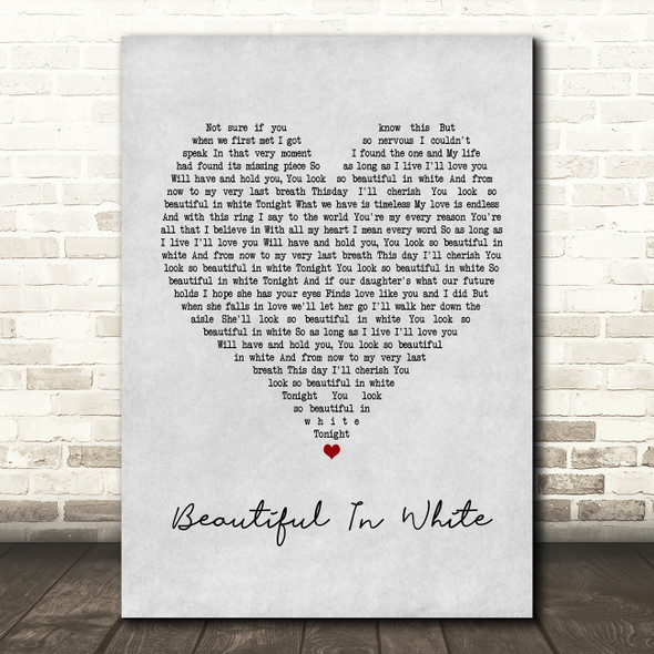 Westlife Beautiful In White Grey Heart Song Lyric Framed Print