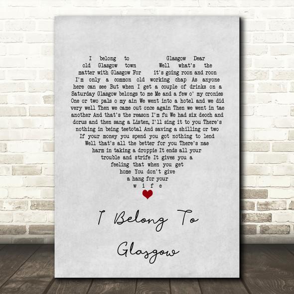 Will Fyffe I Belong To Glasgow Grey Heart Song Lyric Framed Print