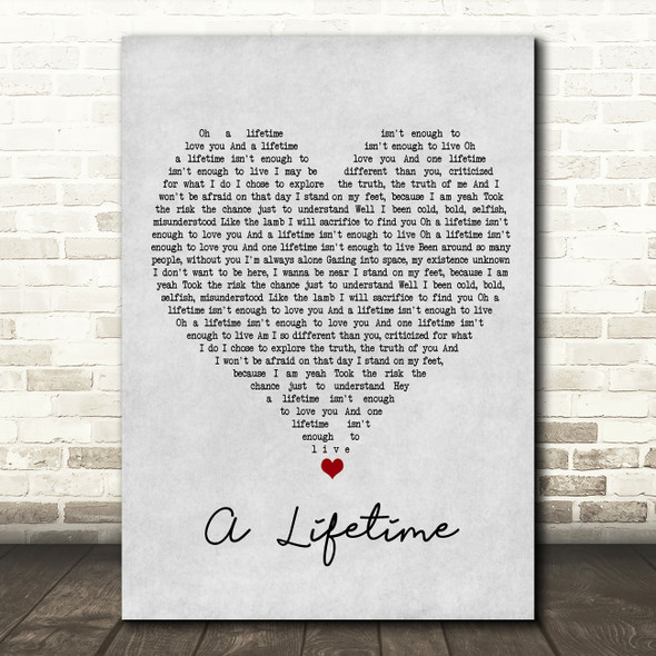 Ziggy Marley A Lifetime Grey Heart Song Lyric Framed Print