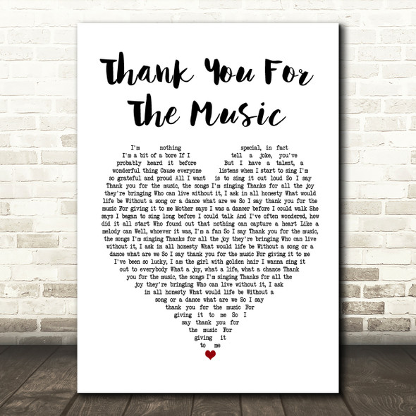 ABBA Thank You For The Music White Heart Song Lyric Framed Print