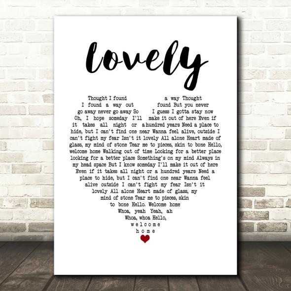 Billie Eilish and Khalid Lovely White Heart Song Lyric Framed Print