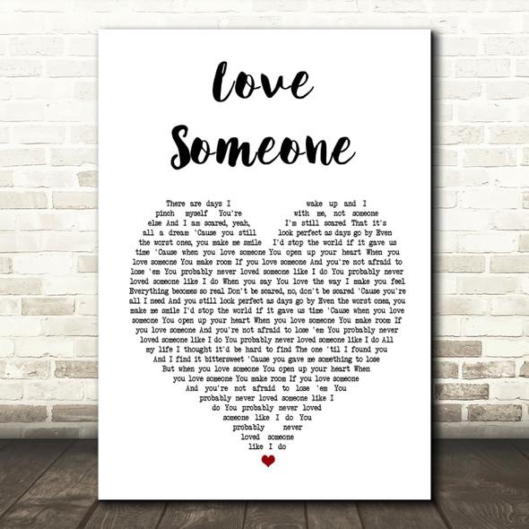 Lukas Graham Love Someone White Heart Song Lyric Framed Print