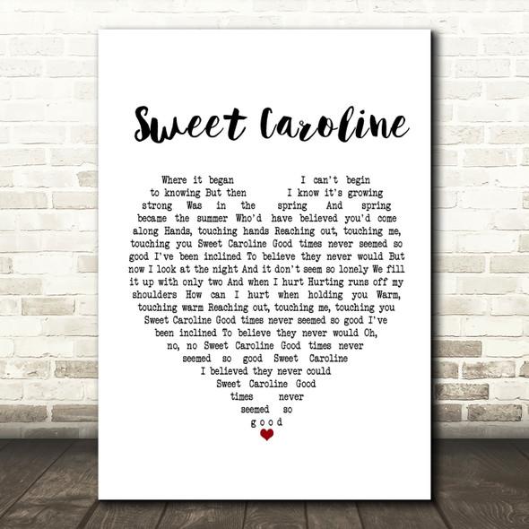Neil Diamond Sweet Caroline White Heart Song Lyric Framed Print