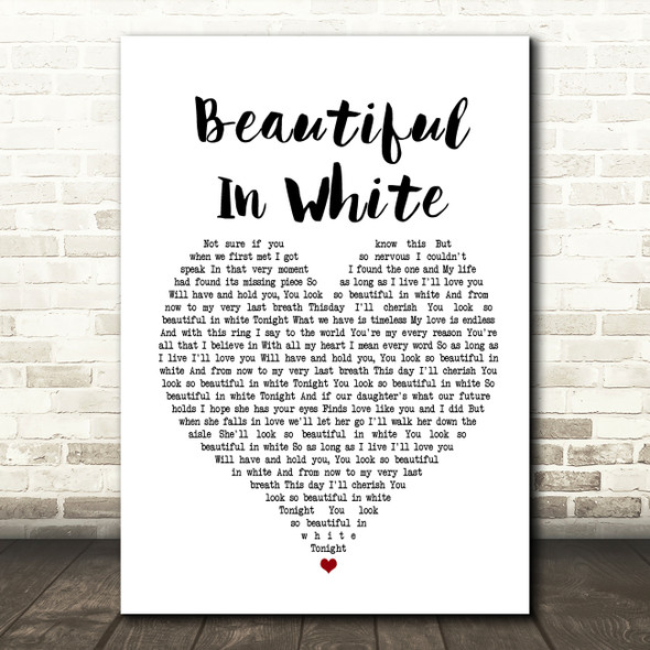 Westlife Beautiful In White White Heart Song Lyric Framed Print