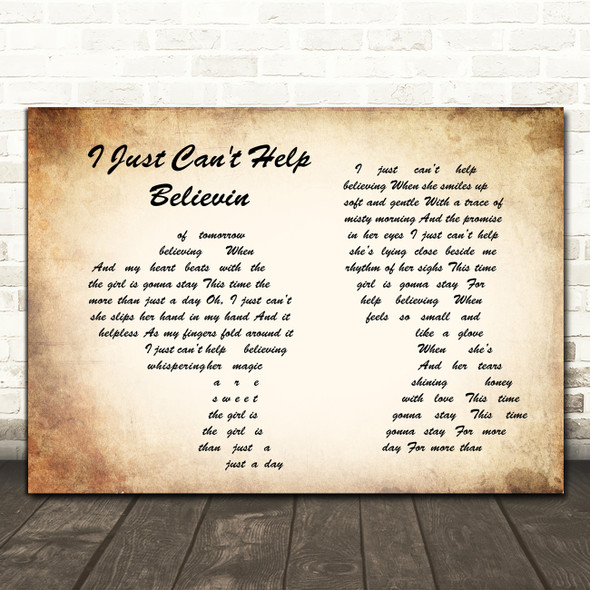 Elvis Presley I Just Can't Help Believin Man Lady Couple Song Lyric Framed Print