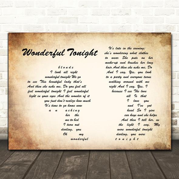 Eric Clapton Wonderful Tonight Man Lady Couple Song Lyric Framed Print