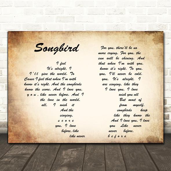 Fleetwood Mac Songbird Man Lady Couple Song Lyric Framed Print