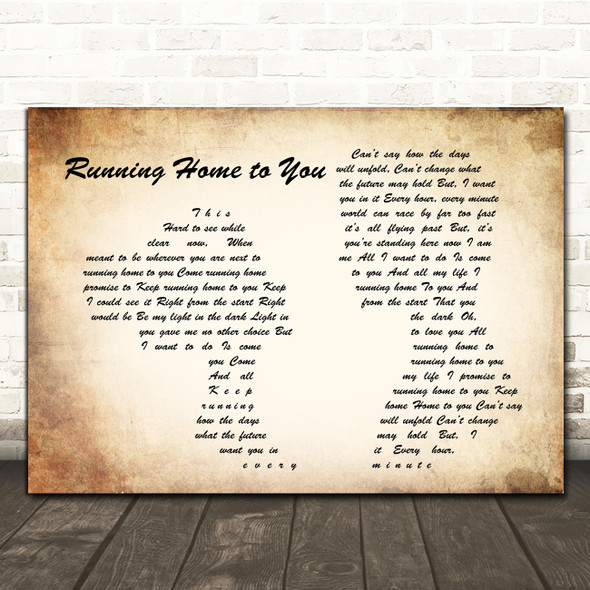 Grant Gustin Running Home to You Man Lady Couple Song Lyric Framed Print