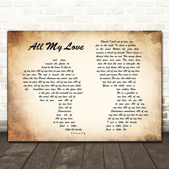 Led Zeppelin All My Love Man Lady Couple Song Lyric Framed Print