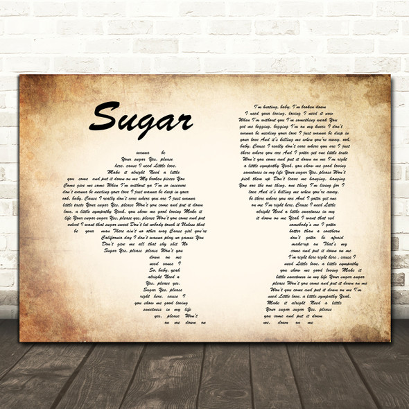 Maroon 5 Sugar Man Lady Couple Song Lyric Framed Print