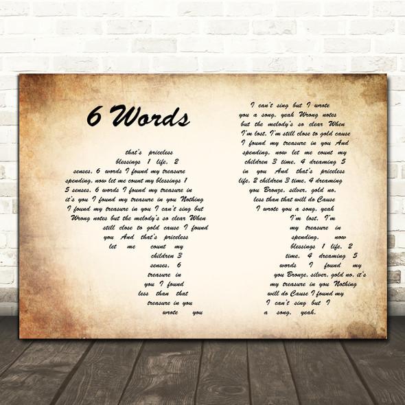 Wretch 32 6 Words Man Lady Couple Song Lyric Framed Print