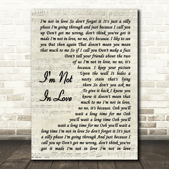 10cc I'm Not In Love Vintage Script Song Lyric Framed Print