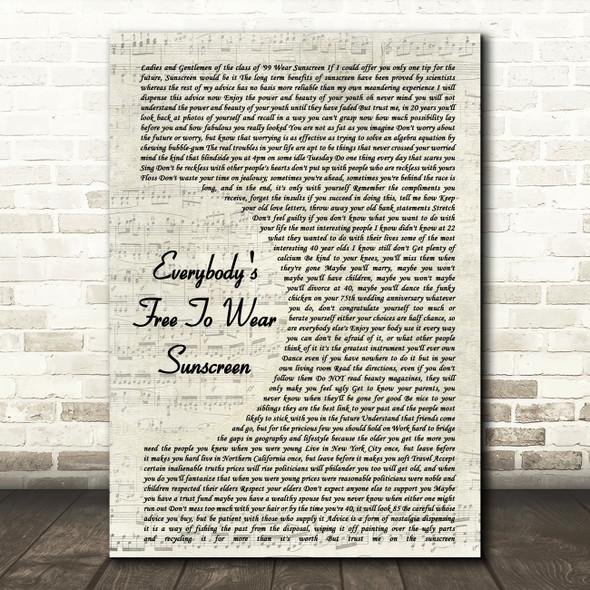 Baz Luhrmann Everybody's Free To Wear Sunscreen Vintage Script Song Lyric Framed Print