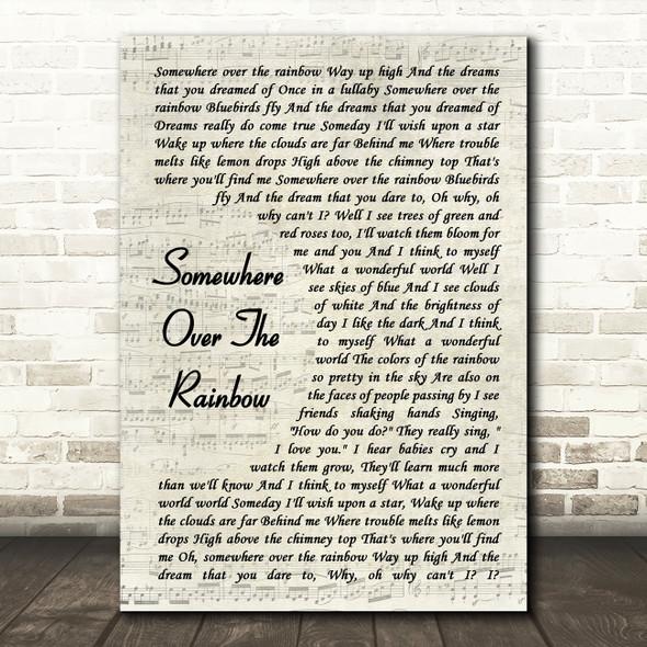 Israel Kamakawiwo'ole Somewhere Over The Rainbow Vintage Script Song Lyric Framed Print