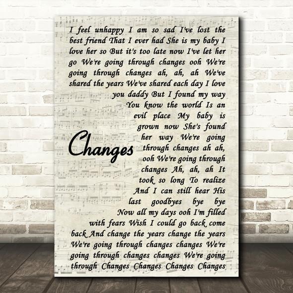 Kelly Osbourne feat. Ozzy Osbourne Changes Vintage Script Song Lyric Framed Print
