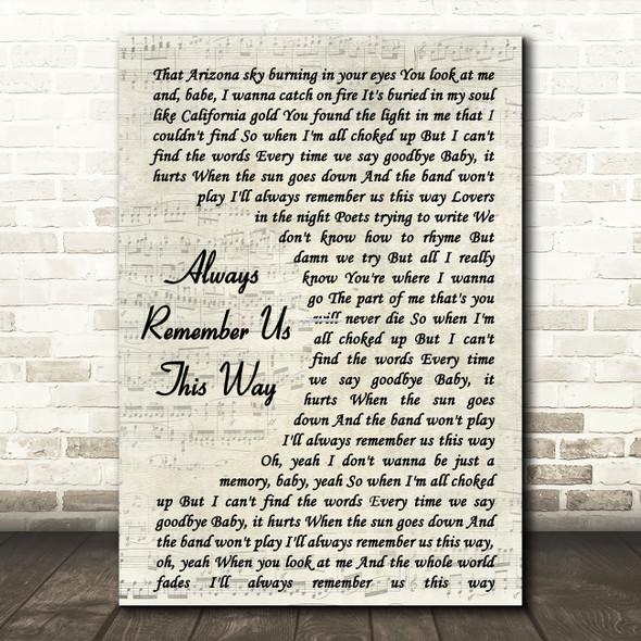 Lady Gaga Always Remember Us This Way Vintage Script Song Lyric Framed Print
