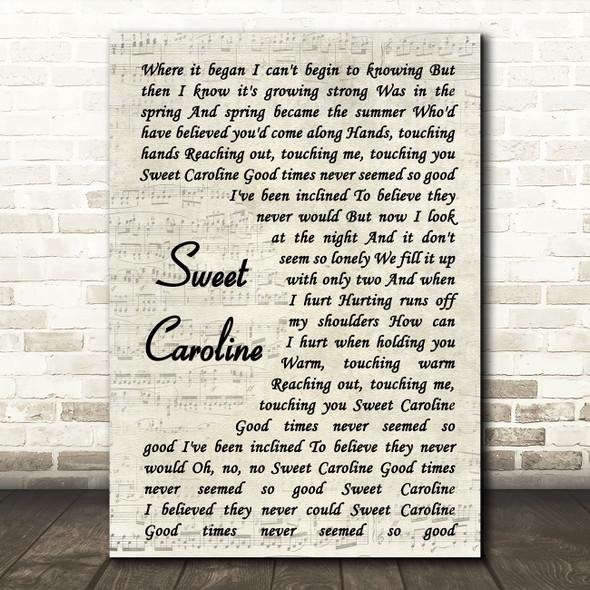 Neil Diamond Sweet Caroline Vintage Script Song Lyric Framed Print