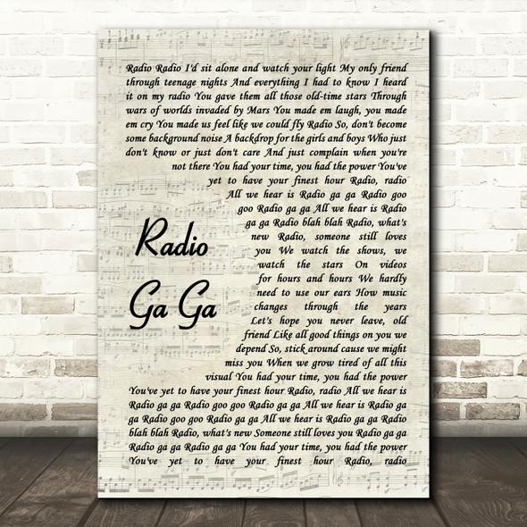 Queen Radio Ga Ga Vintage Script Song Lyric Framed Print