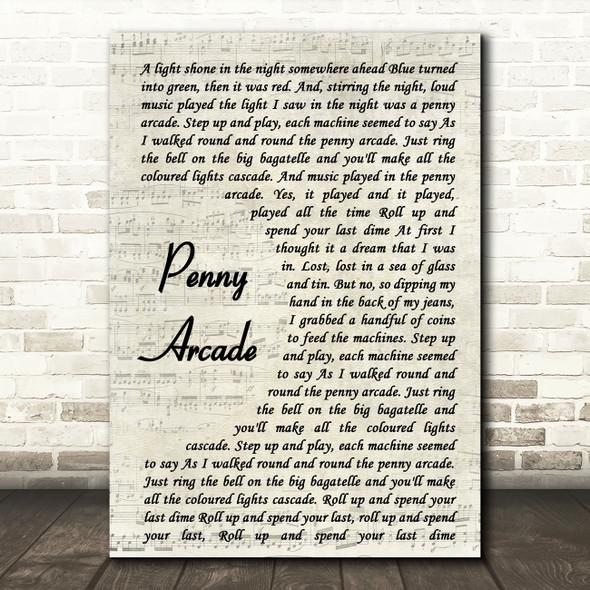 Roy Orbison Penny Arcade Vintage Script Song Lyric Framed Print