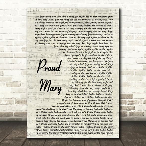 Tina Turner Proud Mary Vintage Script Song Lyric Framed Print