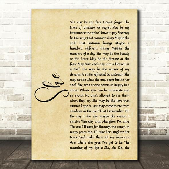 Elvis Costello She Rustic Script Song Lyric Framed Print