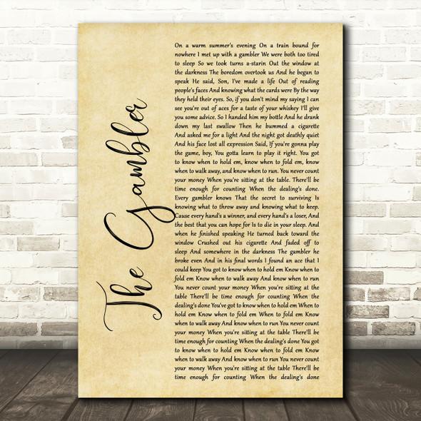 Kenny Rogers The Gambler Rustic Script Song Lyric Framed Print