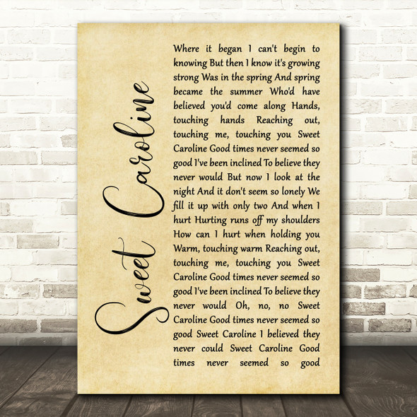 Neil Diamond Sweet Caroline Rustic Script Song Lyric Framed Print