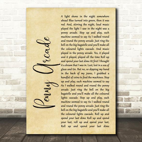 Roy Orbison Penny Arcade Rustic Script Song Lyric Framed Print