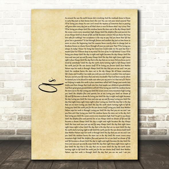 Stevie Wonder As Rustic Script Song Lyric Framed Print