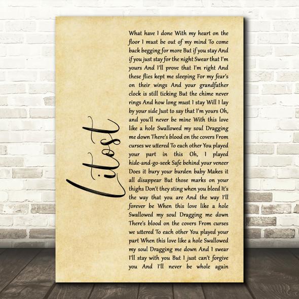 X Ambassadors Litost Rustic Script Song Lyric Framed Print