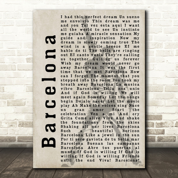 Freddie Mercury Barcelona Shadow Song Lyric Framed Print