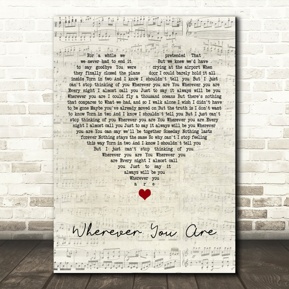 5 Seconds Of Summer Wherever You Are Script Heart Song Lyric Framed Print