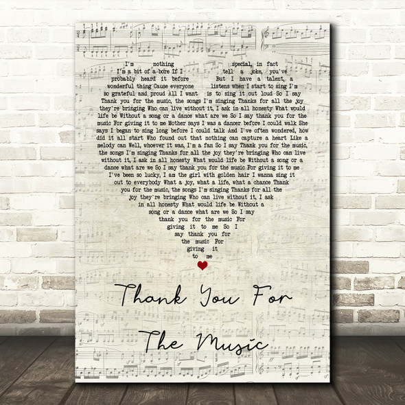 ABBA Thank You For The Music Script Heart Song Lyric Framed Print