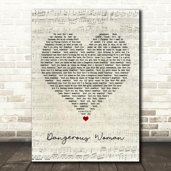 Ariana Grande Dangerous Woman Script Heart Song Lyric Framed Print
