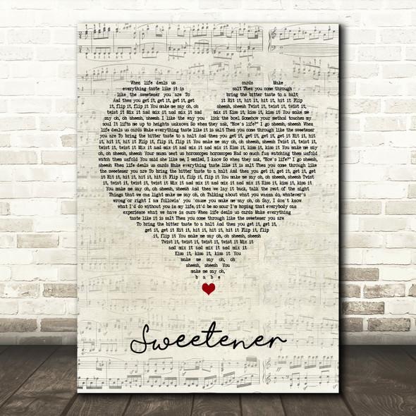 Ariana Grande Sweetener Script Heart Song Lyric Framed Print