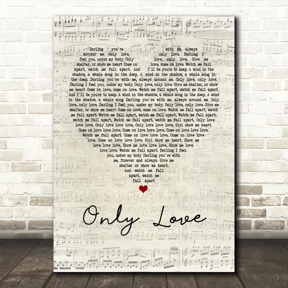 Ben Howard Only Love Script Heart Song Lyric Framed Print