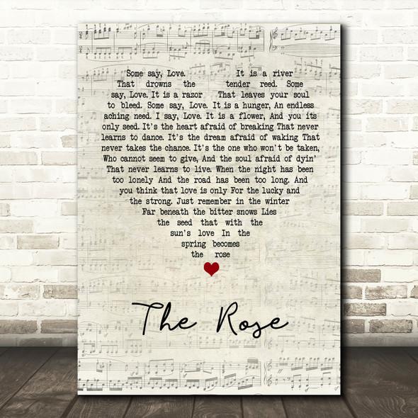 Bette Midler The Rose Script Heart Song Lyric Framed Print
