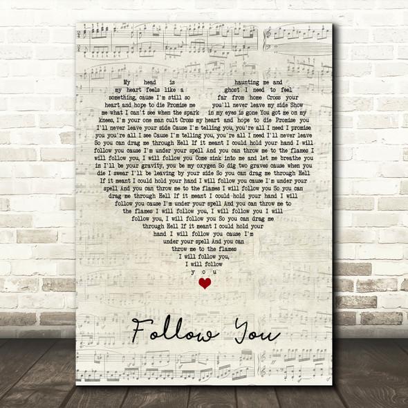 Bring Me The Horizon Follow You Script Heart Song Lyric Framed Print