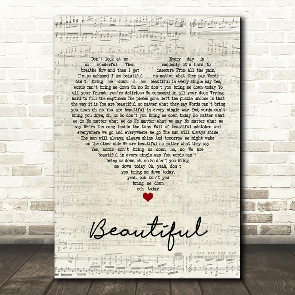 Christina Aguilera Beautiful Script Heart Song Lyric Framed Print