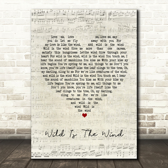 David Bowie Wild Is The Wind Script Heart Song Lyric Framed Print