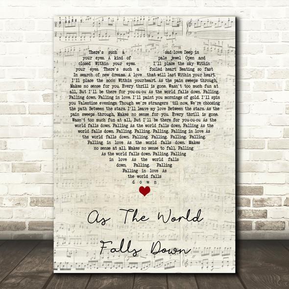 David Bowie As The World Falls Down Script Heart Song Lyric Framed Print