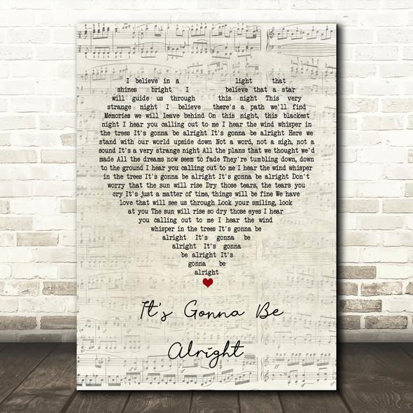 David Essex It's Gonna Be Alright Script Heart Song Lyric Framed Print