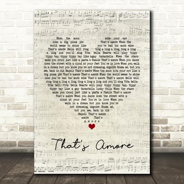 Dean Martin That's Amore Script Heart Song Lyric Framed Print