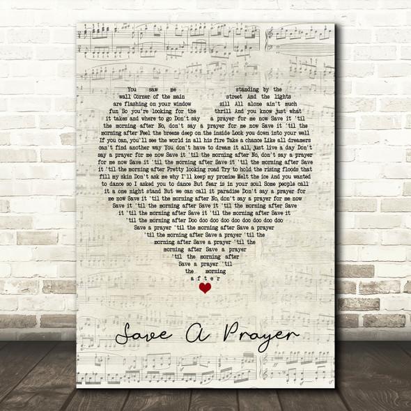 Duran Duran Save A Prayer Script Heart Song Lyric Framed Print