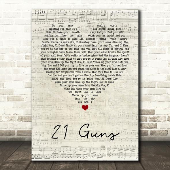 Green Day 21 Guns Script Heart Song Lyric Framed Print