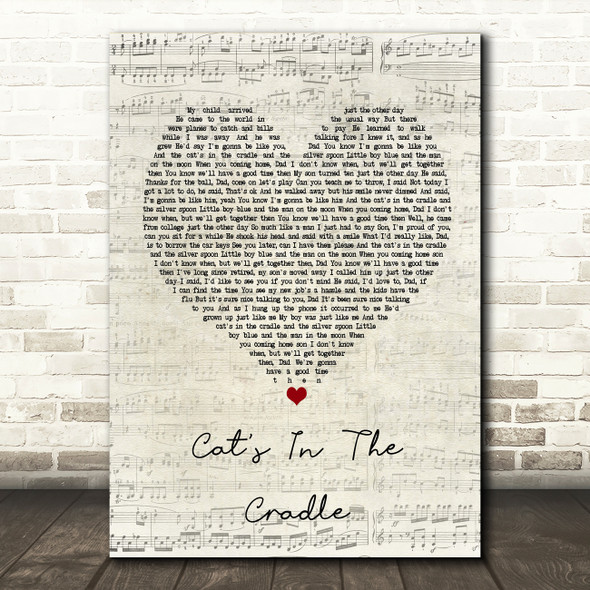 Harry Chapin Cat's In The Cradle Script Heart Song Lyric Framed Print