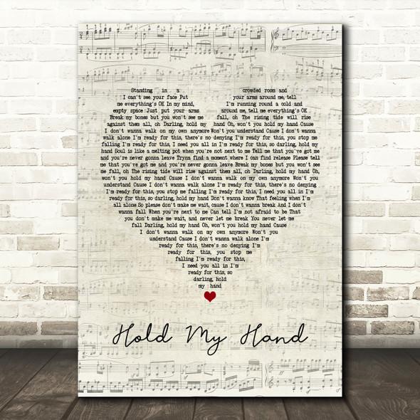 Jess Glynne Hold My Hand Script Heart Song Lyric Framed Print