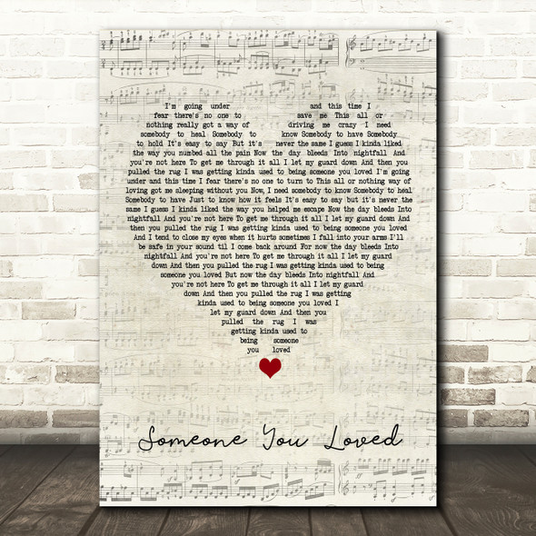 Lewis Capaldi Someone You Loved Script Heart Song Lyric Framed Print