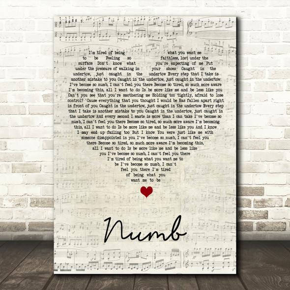 Linkin Park Numb Script Heart Song Lyric Framed Print